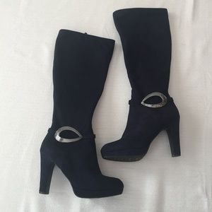 Impo Navy tall stretch boots 6 EUC sexy